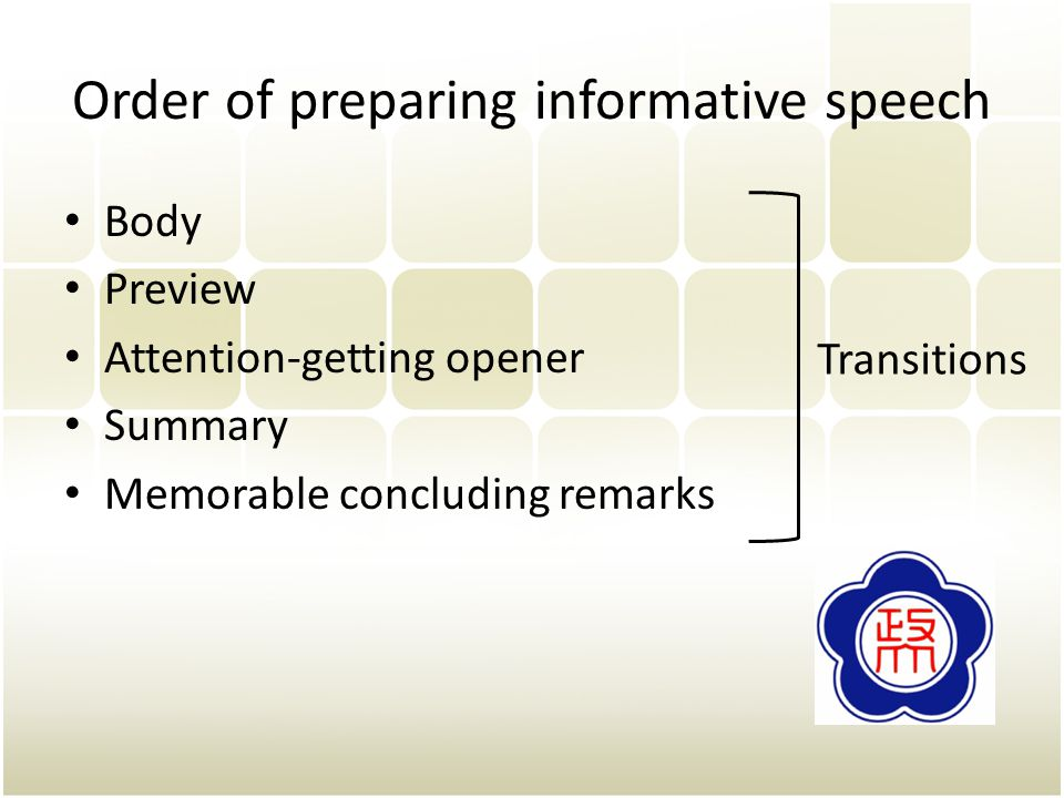 Order of preparing informative speech Body Preview Attention-getting opener Summary Memorable concluding remarks Transitions
