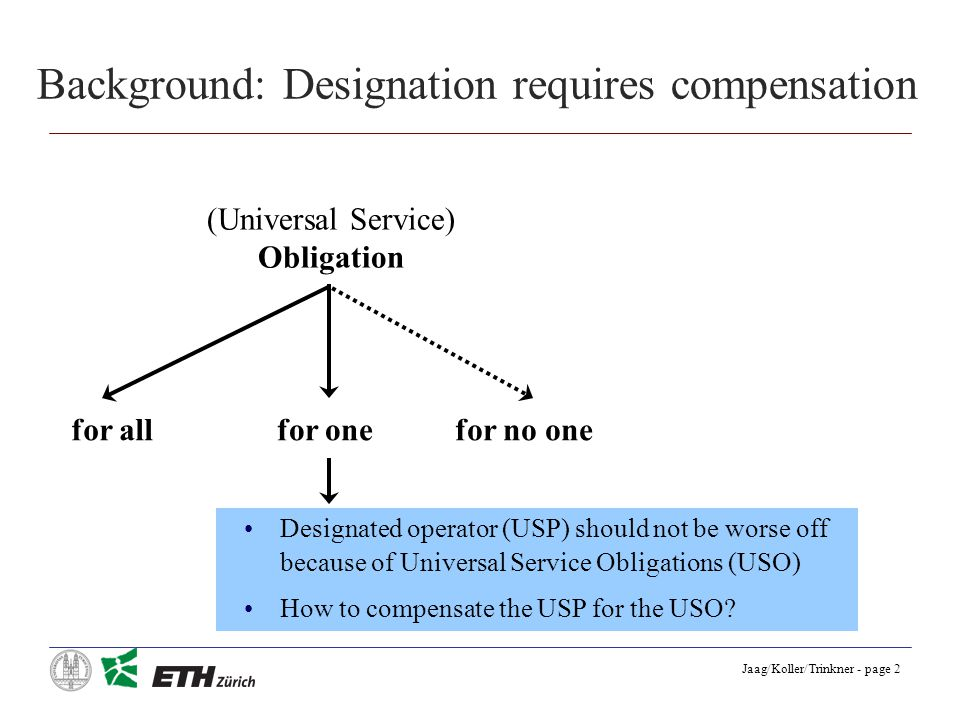 Jaag/Koller/Trinkner - page 2 Background: Designation requires compensation (Universal Service) Obligation for allfor onefor no one Designated operator (USP) should not be worse off because of Universal Service Obligations (USO) How to compensate the USP for the USO