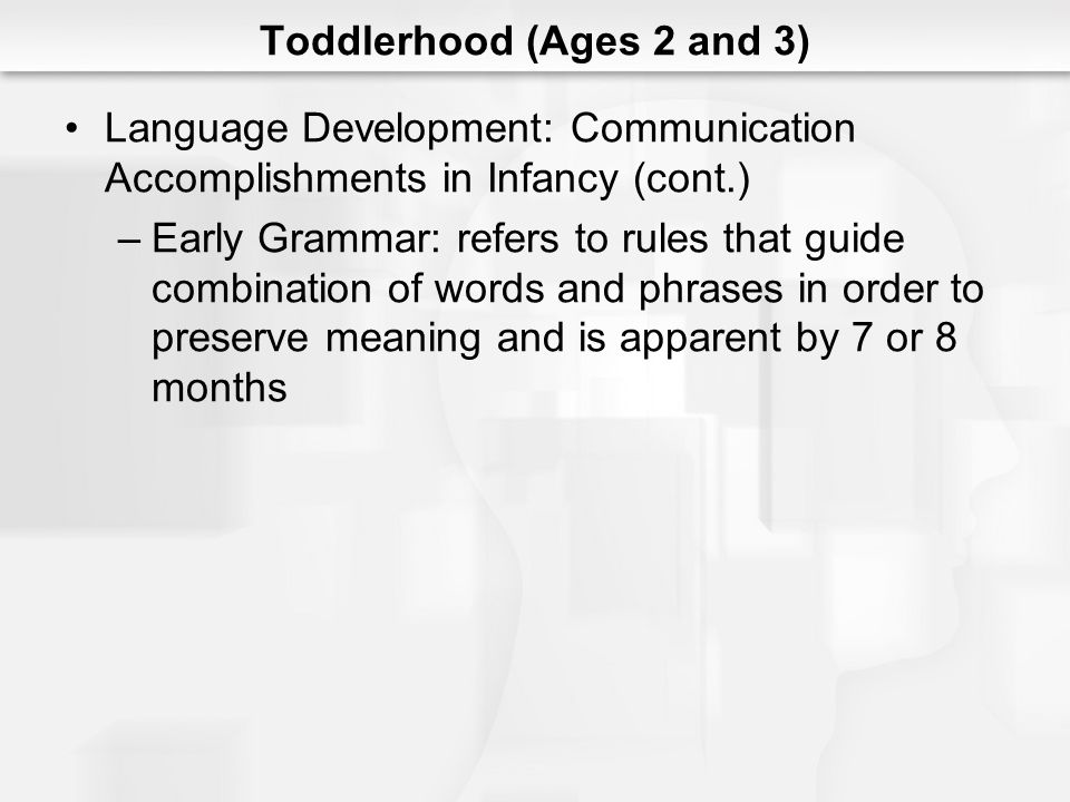 Toddlerhood (Ages 2 and 3) Language Development: Communication Accomplishments in Infancy (cont.) –Early Grammar: refers to rules that guide combinati