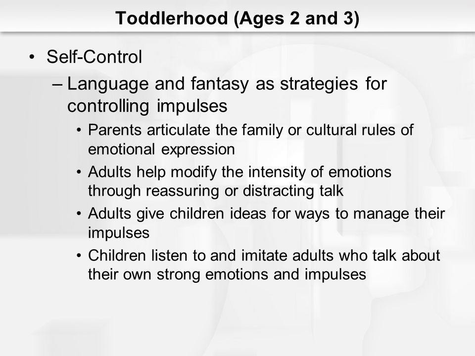 Toddlerhood (Ages 2 and 3) Self-Control –Language and fantasy as strategies for controlling impulses Parents articulate the family or cultural rules o