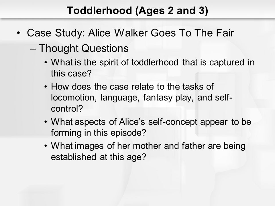 Toddlerhood (Ages 2 and 3) Case Study: Alice Walker Goes To The Fair –Thought Questions What is the spirit of toddlerhood that is captured in this cas