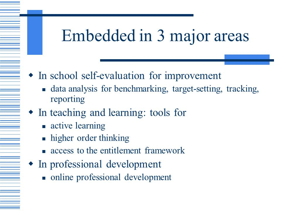 Embedded in 3 major areas In school self-evaluation for improvement data analysis for benchmarking, target-setting, tracking, reporting In teaching and learning: tools for active learning higher order thinking access to the entitlement framework In professional development online professional development