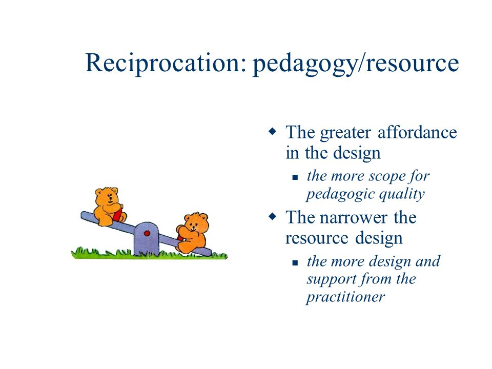 Reciprocation: pedagogy/resource The greater affordance in the design the more scope for pedagogic quality The narrower the resource design the more design and support from the practitioner