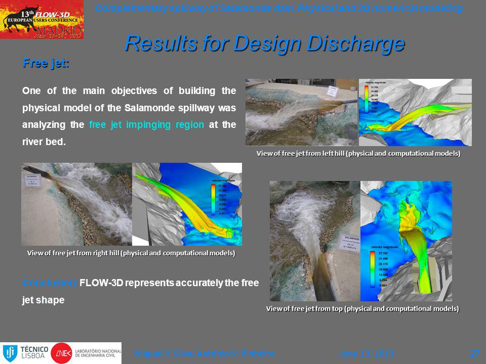 Complementary spillway of Salamonde dam. Physical and 3D numerical modeling Miguel R. Silva; António N. PinheiroJune 13, 2013 Free jet: One of the mai