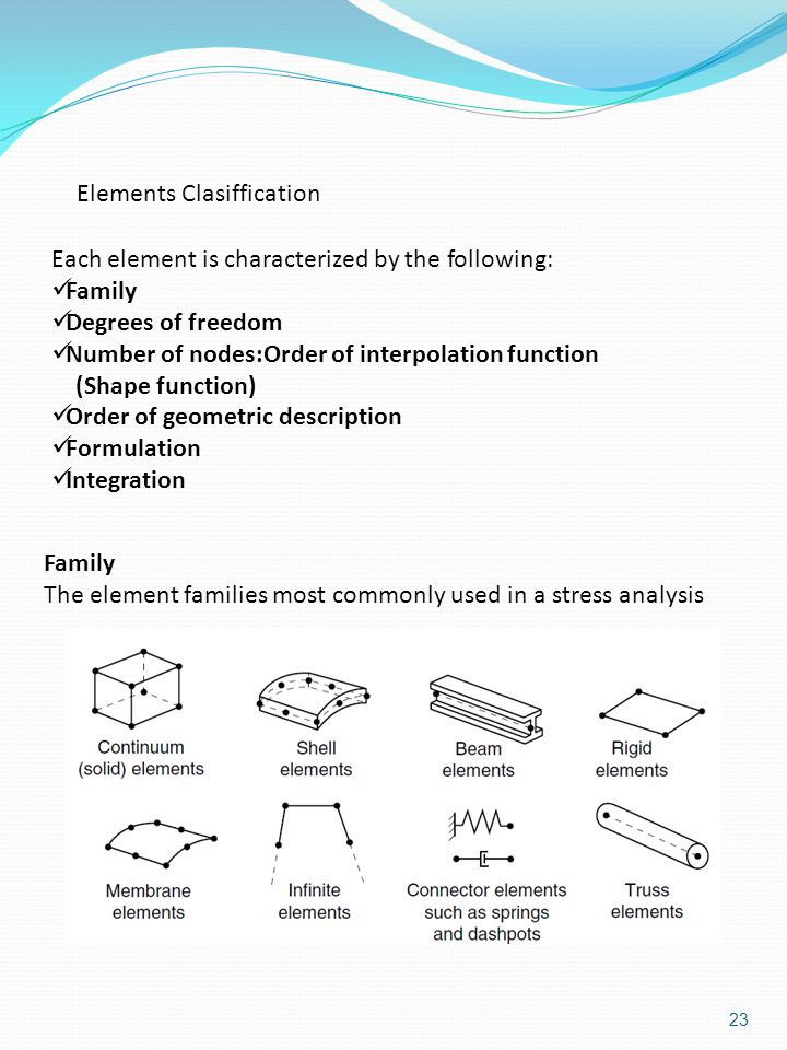 Elements Clasiffication Each element is characterized by the following: Family Degrees of freedom Number of nodes:Order of interpolation function (Shape function) Order of geometric description Formulation Integration Family The element families most commonly used in a stress analysis 23