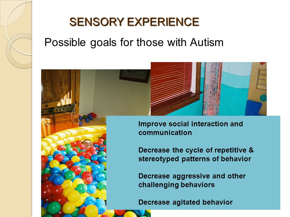 SENSORY EXPERIENCE Possible goals for those with Autism Improve social interaction and communication Decrease the cycle of repetitive & stereotyped patterns of behavior Decrease aggressive and other challenging behaviors Decrease agitated behavior