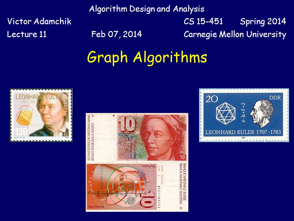 Graph Algorithms Algorithm Design and Analysis Victor AdamchikCS 15-451 Spring 2014 Lecture 11Feb 07, 2014Carnegie Mellon University