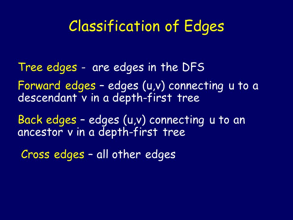 Tree edges - are edges in the DFS Classification of Edges Forward edges – edges (u,v) connecting u to a descendant v in a depth-first tree Back edges – edges (u,v) connecting u to an ancestor v in a depth-first tree Cross edges – all other edges