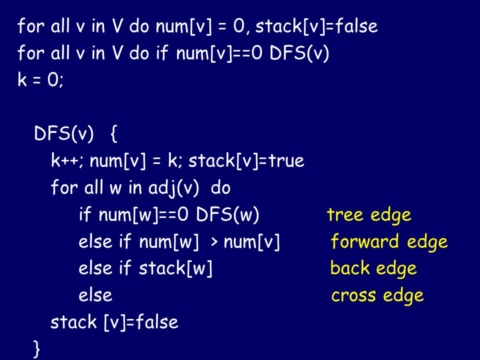 for all v in V do num[v] = 0, stack[v]=false for all v in V do if num[v]==0 DFS(v) k = 0; DFS(v) { k++; num[v] = k; stack[v]=true for all w in adj(v) do if num[w]==0 DFS(w) tree edge else if num[w] > num[v] forward edge else if stack[w] back edge else cross edge stack [v]=false }