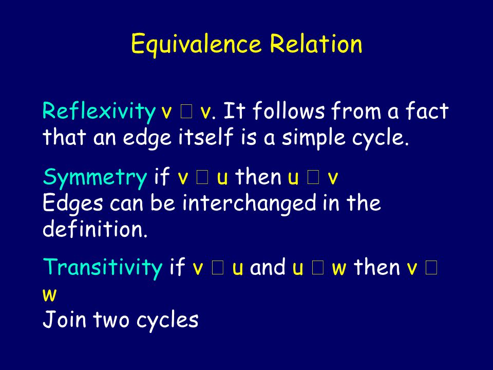 Equivalence Relation Reflexivity v v. It follows from a fact that an edge itself is a simple cycle. Symmetry if v u then u v Edges can be interchanged