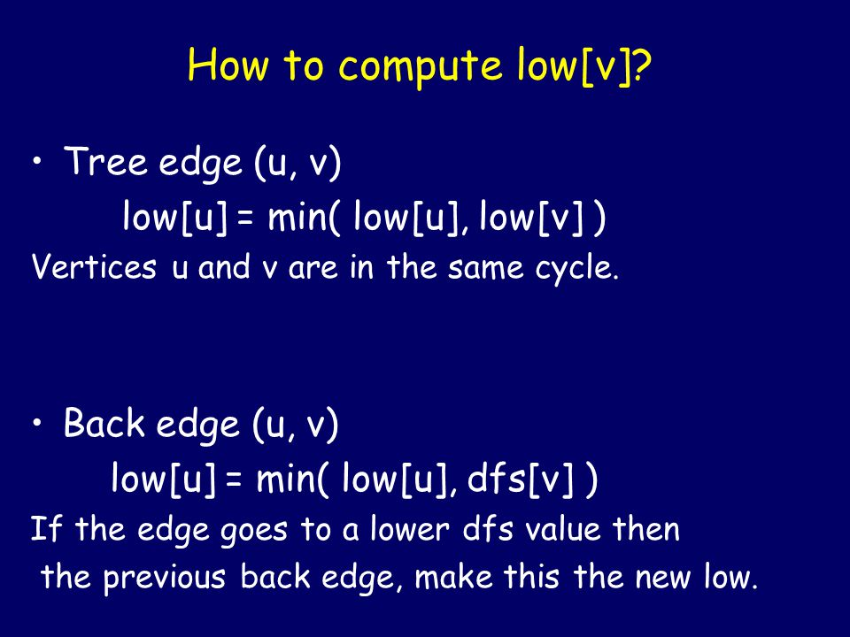 How to compute low[v]? Back edge (u, v) low[u] = min( low[u], dfs[v] ) If the edge goes to a lower dfs value then the previous back edge, make this th