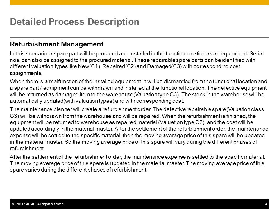 © 2011 SAP AG. All rights reserved.4 Detailed Process Description Refurbishment Management In this scenario, a spare part will be procured and install