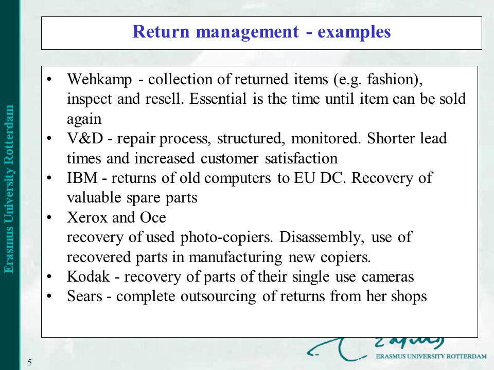 5 Return management - examples Wehkamp - collection of returned items (e.g.