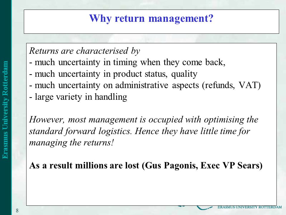 8 Why return management.
