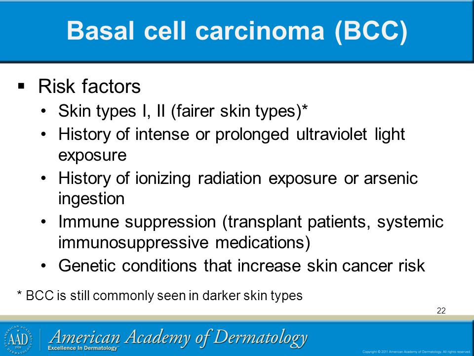 Basal cell carcinoma (BCC) Risk factors Skin types I, II (fairer skin types)* History of intense or prolonged ultraviolet light exposure History of io