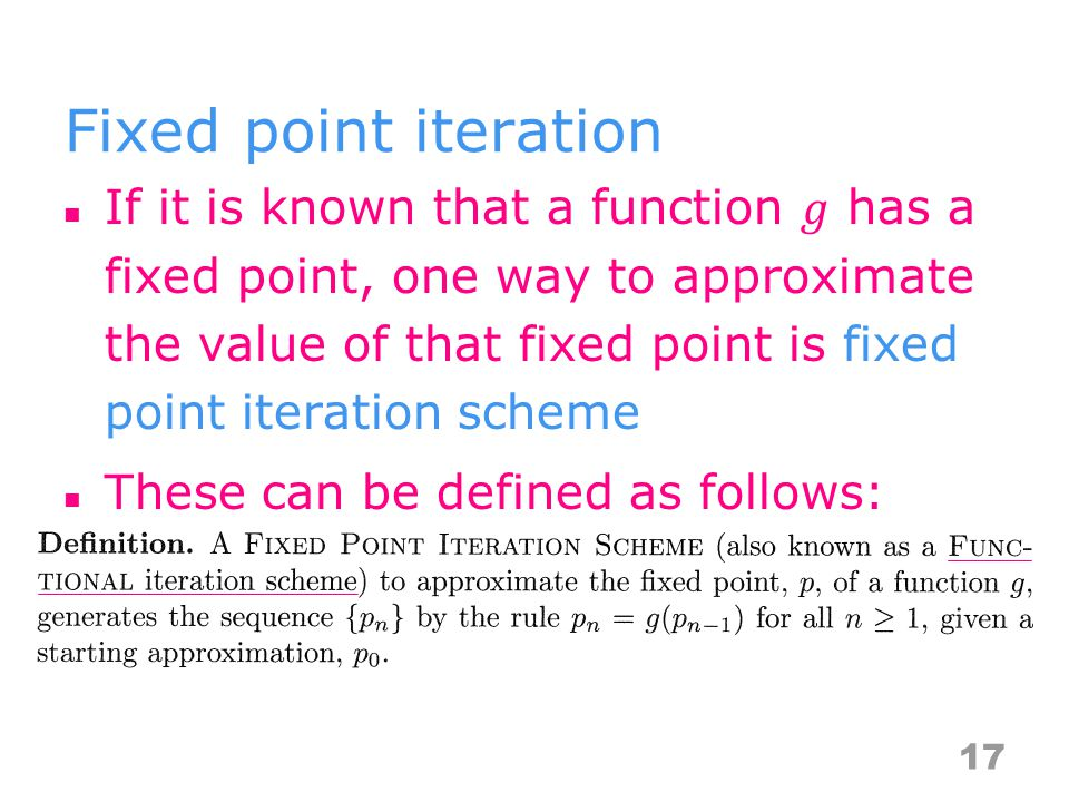 Fixed point iteration 17