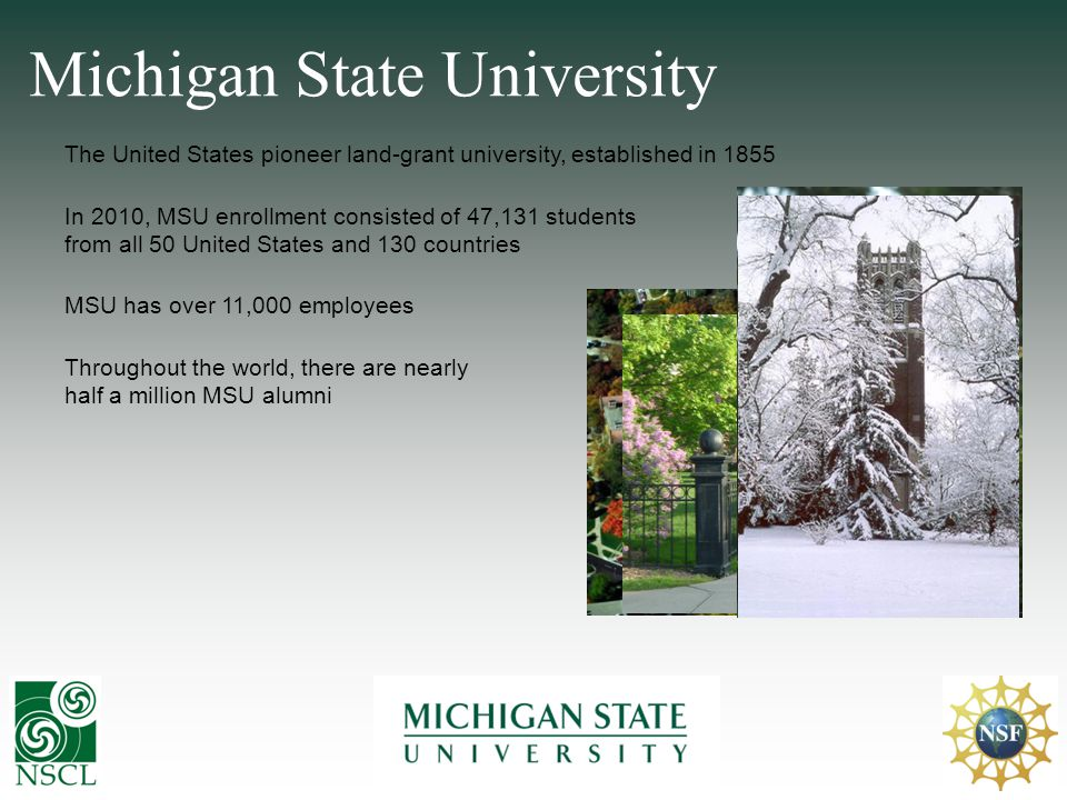 The United States pioneer land-grant university, established in 1855 Michigan State University MSU has over 11,000 employees In 2010, MSU enrollment c