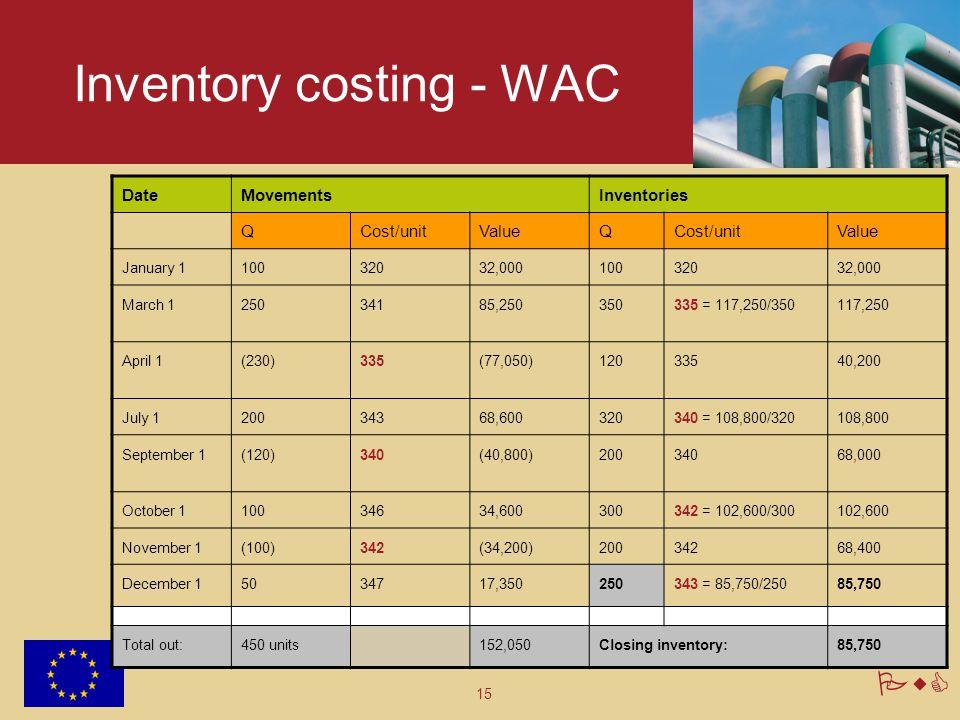 15 PwC Inventory costing - WAC DateMovementsInventories QCost/unitValueQCost/unitValue January 110032032,00010032032,000 March 125034185,250350335 = 1