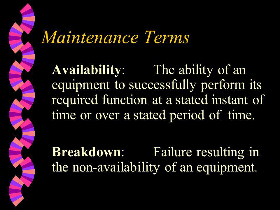 Maintenance Terms Availability:The ability of an equipment to successfully perform its required function at a stated instant of time or over a stated