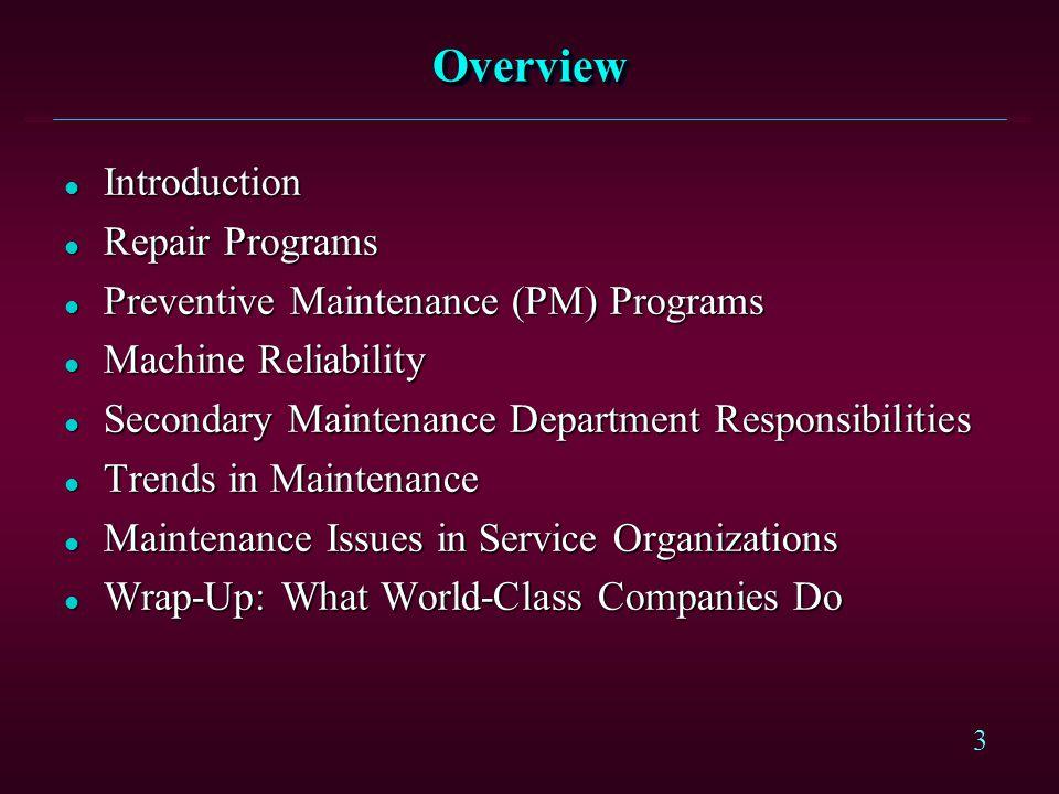 3 OverviewOverview l Introduction l Repair Programs l Preventive Maintenance (PM) Programs l Machine Reliability l Secondary Maintenance Department Re