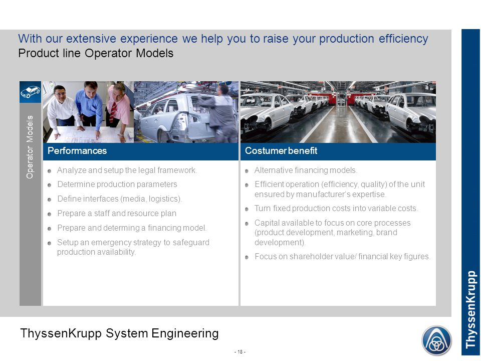 ThyssenKrupp ThyssenKrupp System Engineering - 18 - Performances Analyze and setup the legal framework.