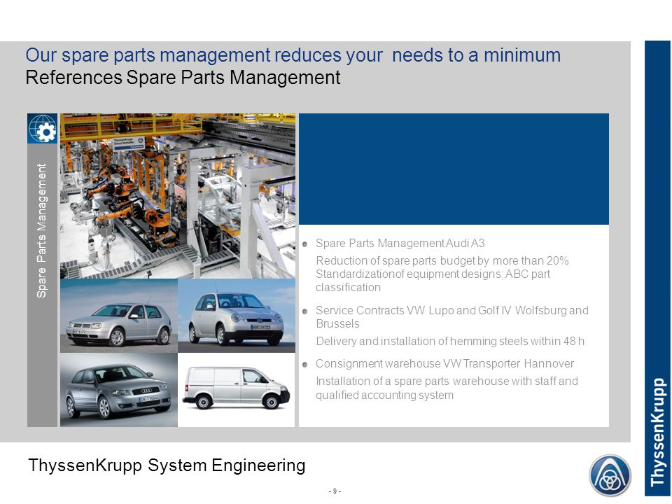 ThyssenKrupp ThyssenKrupp System Engineering - 9 - Our spare parts management reduces your needs to a minimum References Spare Parts Management Spare Parts Management Audi A3 Reduction of spare parts budget by more than 20% Standardizationof equipment designs; ABC part classification Service Contracts VW Lupo and Golf IV Wolfsburg and Brussels Delivery and installation of hemming steels within 48 h Consignment warehouse VW Transporter Hannover Installation of a spare parts warehouse with staff and qualified accounting system Spare Parts Management