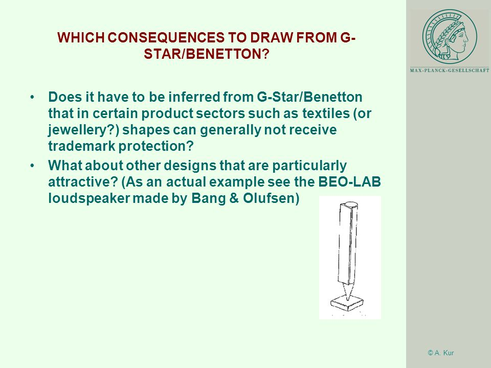 © A. Kur WHICH CONSEQUENCES TO DRAW FROM G- STAR/BENETTON.