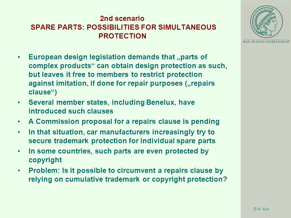 © A. Kur 2nd scenario SPARE PARTS: POSSIBILITIES FOR SIMULTANEOUS PROTECTION European design legislation demands that parts of complex products can ob