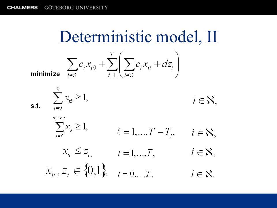 Deterministic model, II