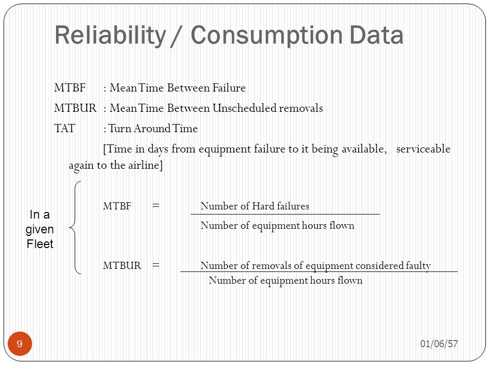 Reliability / Consumption Data 01/06/57 9 MTBF: Mean Time Between Failure MTBUR: Mean Time Between Unscheduled removals TAT: Turn Around Time [Time in