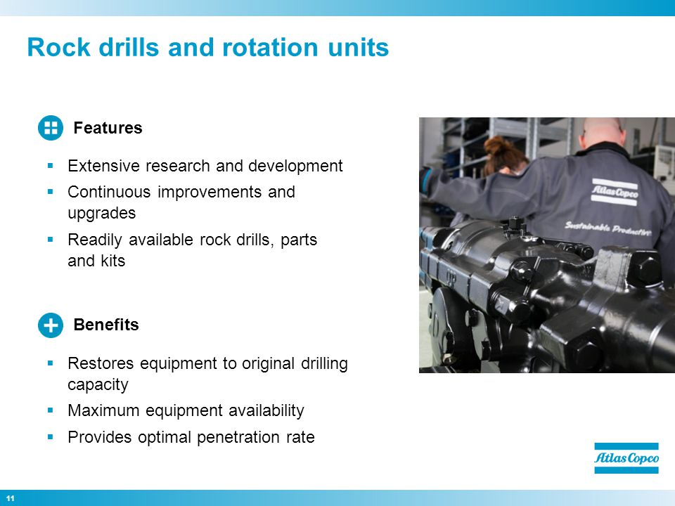 Rock drills and rotation units 11 Restores equipment to original drilling capacity Maximum equipment availability Provides optimal penetration rate Benefits Extensive research and development Continuous improvements and upgrades Readily available rock drills, parts and kits Features