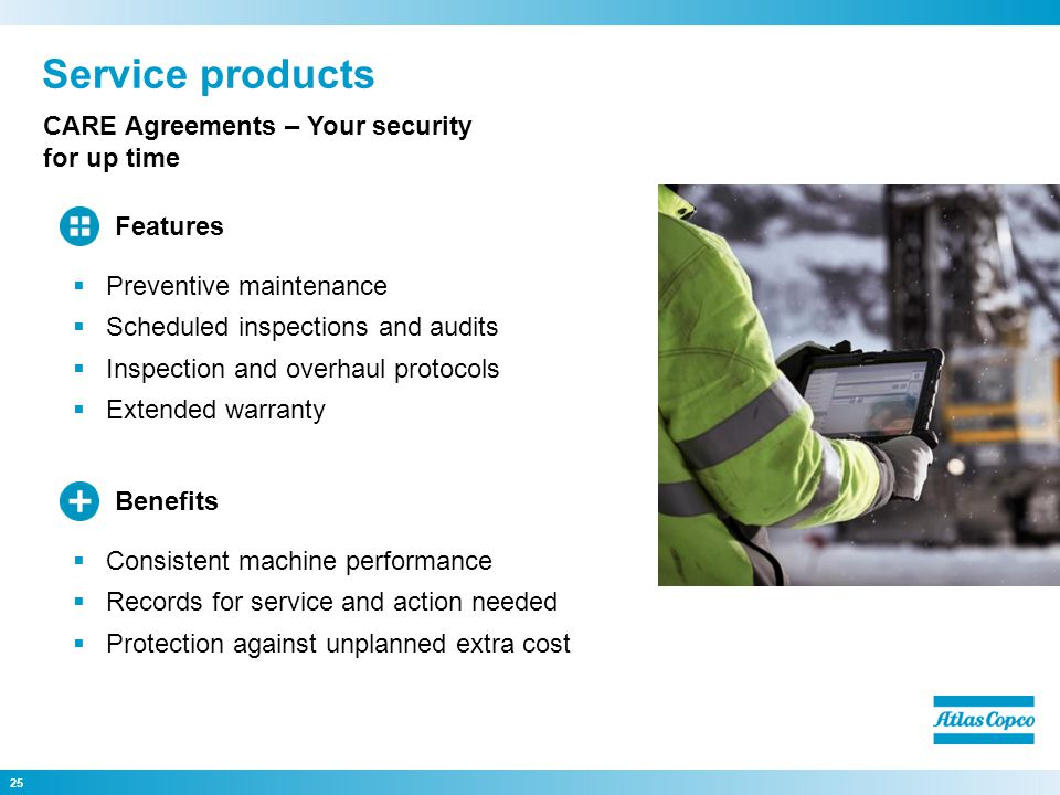 Service products 25 CARE Agreements – Your security for up time Consistent machine performance Records for service and action needed Protection agains