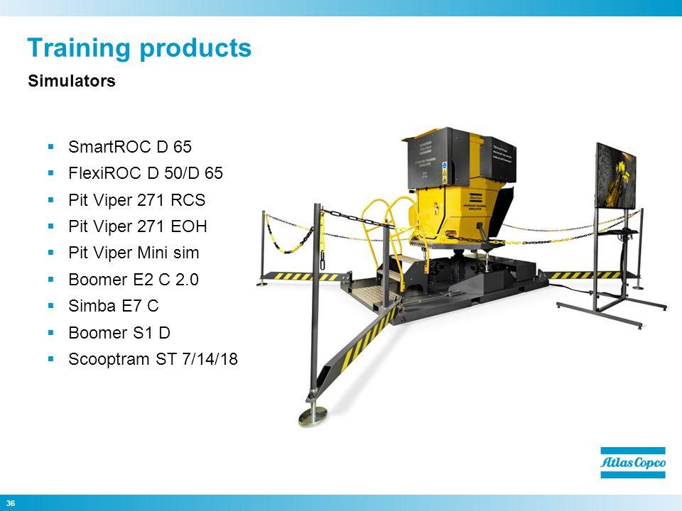 Training products SmartROC D 65 FlexiROC D 50/D 65 Pit Viper 271 RCS Pit Viper 271 EOH Pit Viper Mini sim Boomer E2 C 2.0 Simba E7 C Boomer S1 D Scoop