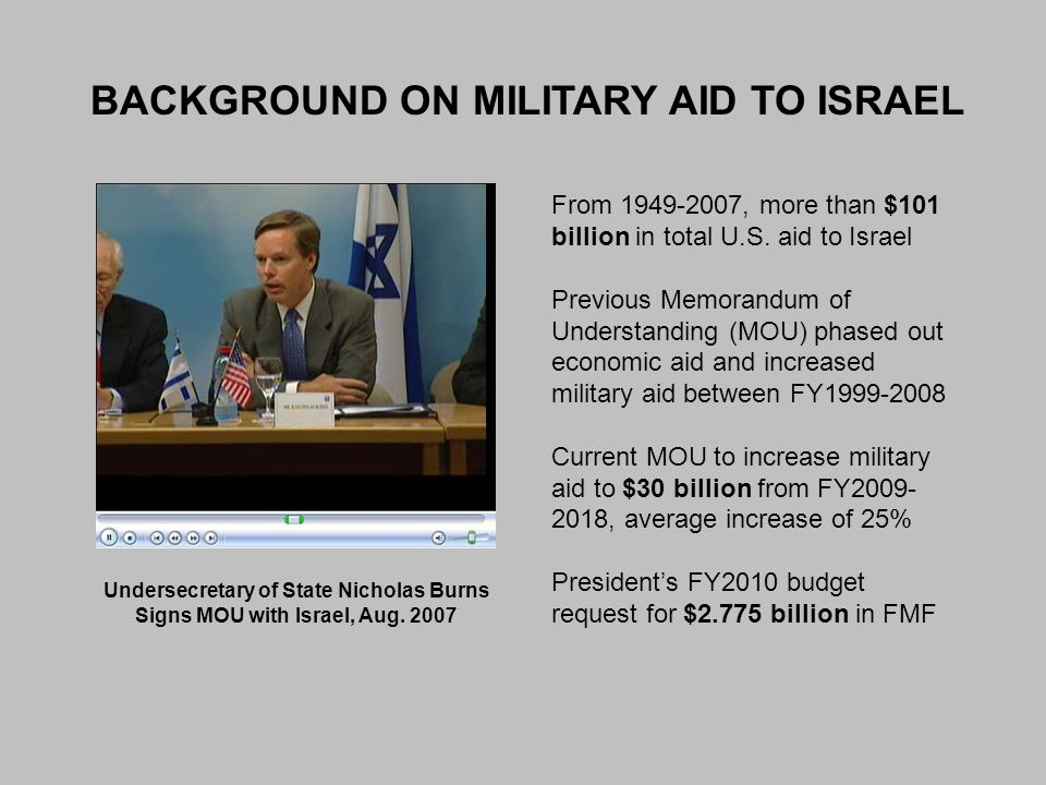 BACKGROUND ON MILITARY AID TO ISRAEL Undersecretary of State Nicholas Burns Signs MOU with Israel, Aug. 2007 From 1949-2007, more than $101 billion in