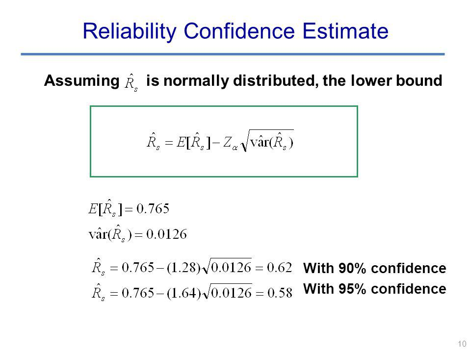 10 Reliability Confidence Estimate Assuming is normally distributed, the lower bound With 90% confidence With 95% confidence