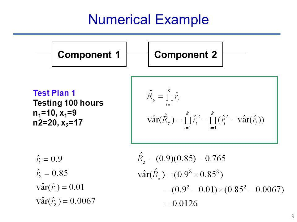 9 Numerical Example Component 1Component 2 Test Plan 1 Testing 100 hours n 1 =10, x 1 =9 n2=20, x 2 =17