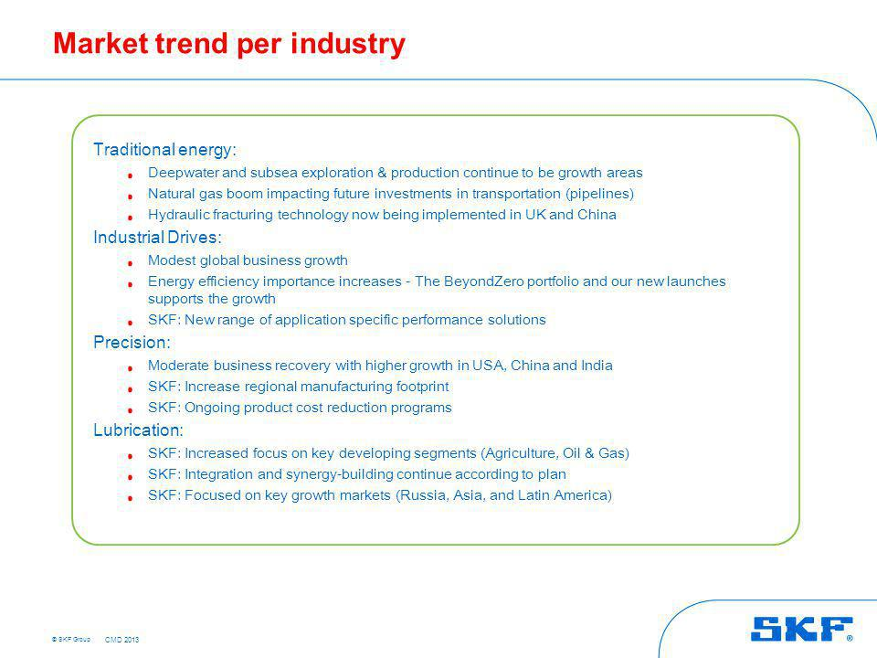 © SKF Group Market trend per industry Traditional energy: Deepwater and subsea exploration & production continue to be growth areas Natural gas boom i