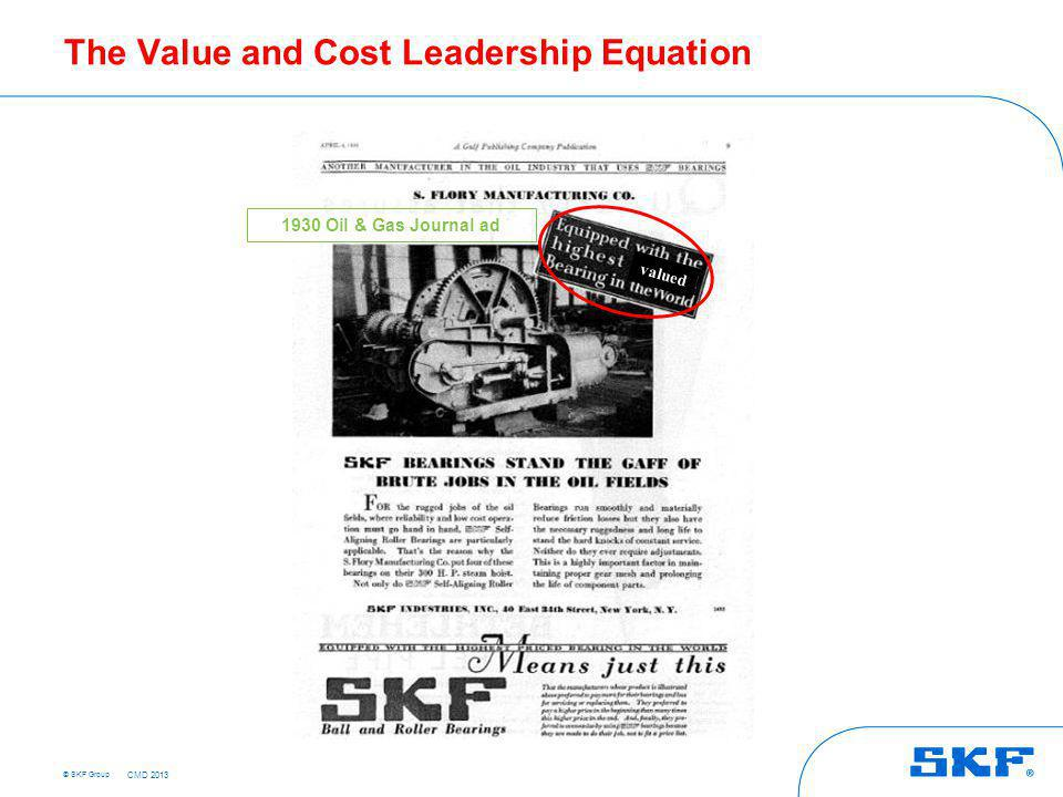 © SKF Group The Value and Cost Leadership Equation 1930 Oil & Gas Journal ad valued CMD 2013