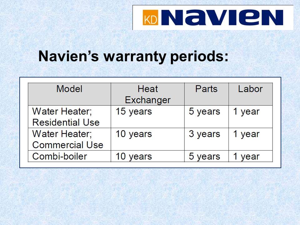 Naviens warranty periods: