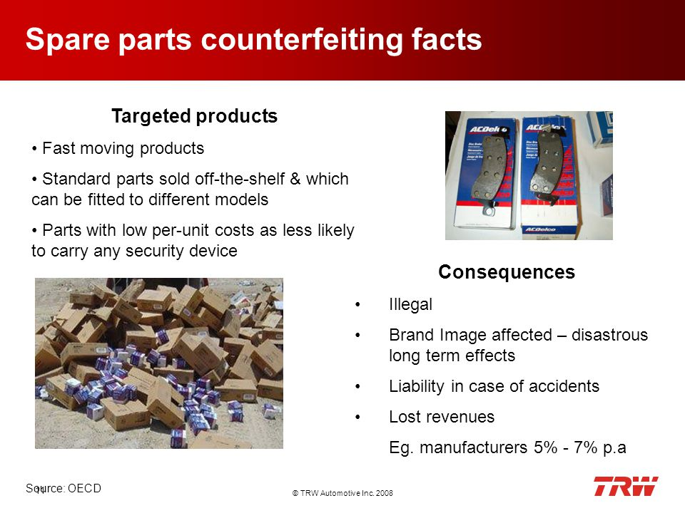 © TRW Automotive Inc. 2008 11 Spare parts counterfeiting facts Targeted products Fast moving products Standard parts sold off-the-shelf & which can be