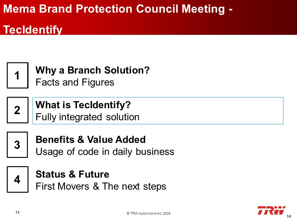 © TRW Automotive Inc. 2008 14 Mema Brand Protection Council Meeting - TecIdentify 2 Why a Branch Solution? Facts and Figures 1 What is TecIdentify? Fu