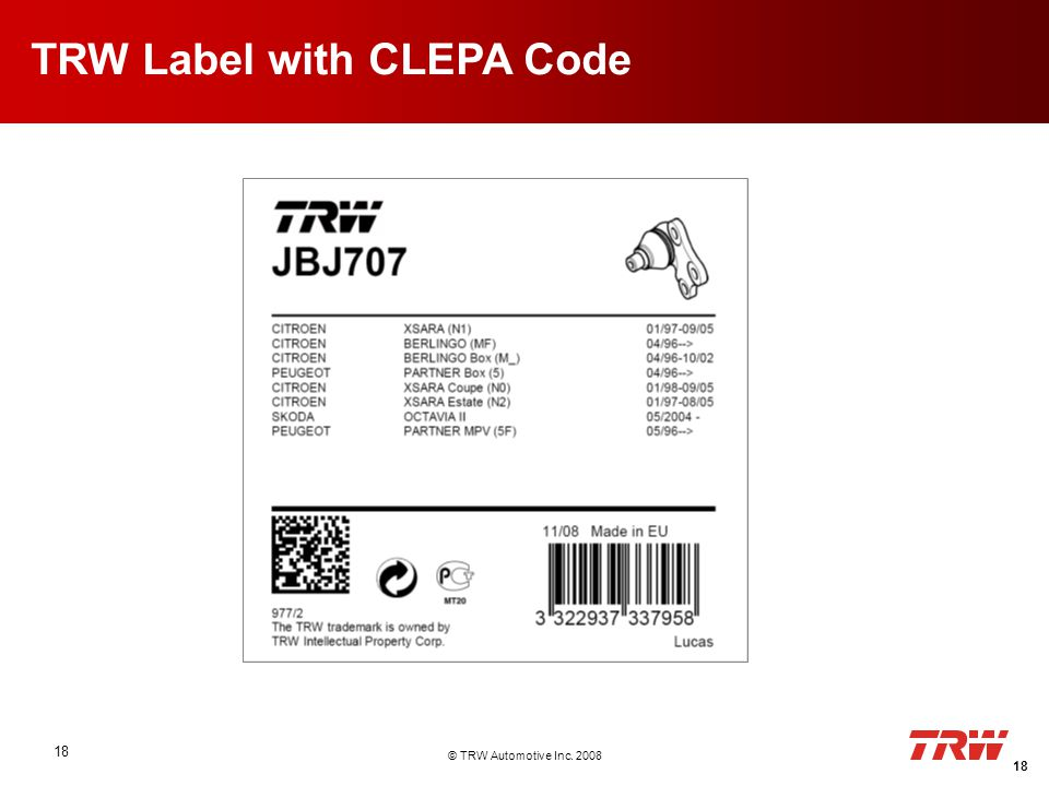© TRW Automotive Inc. 2008 18 TRW Label with CLEPA Code