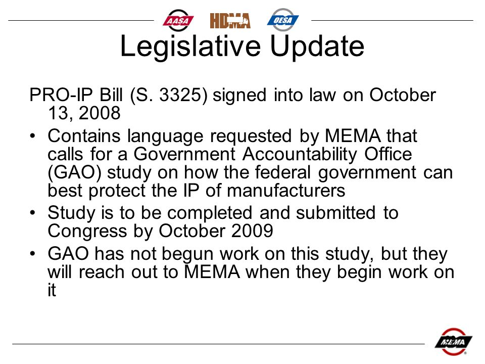 39 Legislative Update PRO-IP Bill (S.