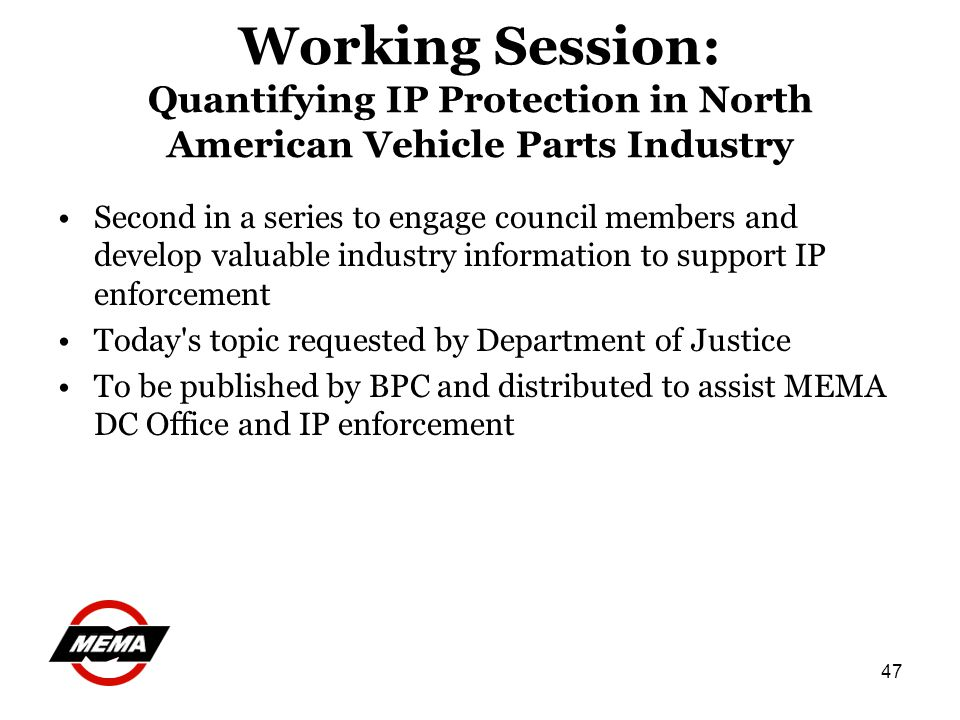 47 Working Session: Quantifying IP Protection in North American Vehicle Parts Industry Second in a series to engage council members and develop valuab