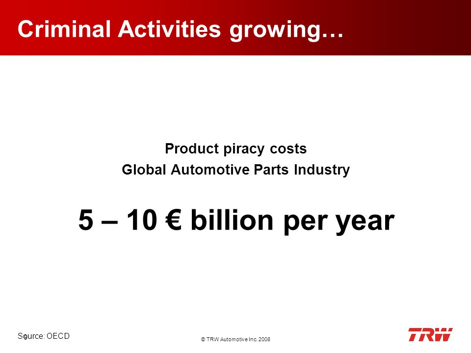 © TRW Automotive Inc. 2008 9 Criminal Activities growing… Product piracy costs Global Automotive Parts Industry 5 – 10 billion per year Source: OECD