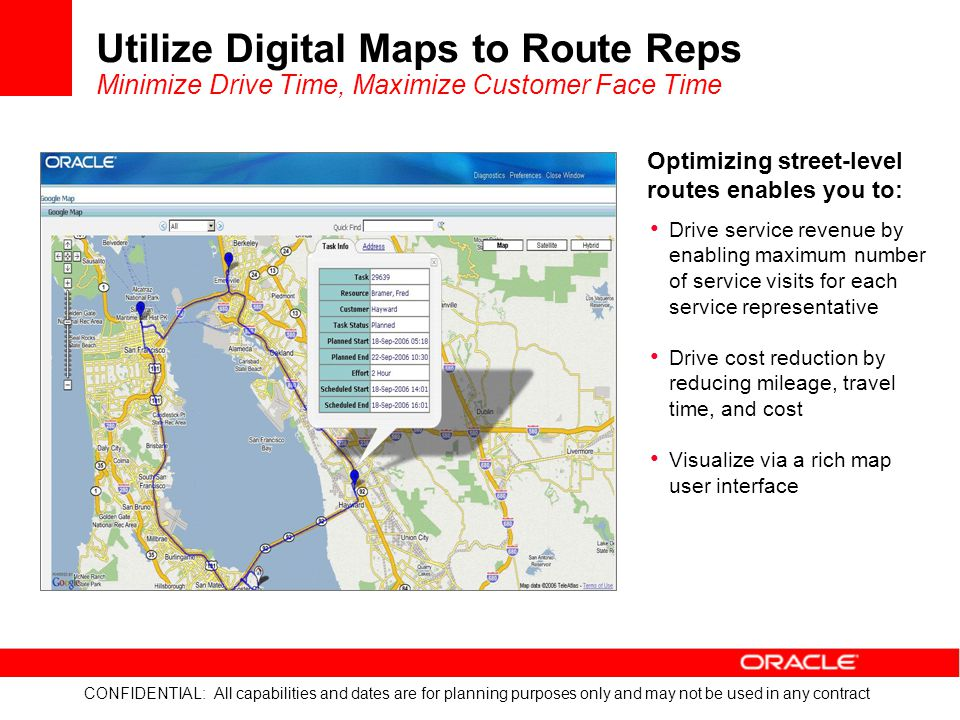 CONFIDENTIAL: All capabilities and dates are for planning purposes only and may not be used in any contract Utilize Digital Maps to Route Reps Minimiz