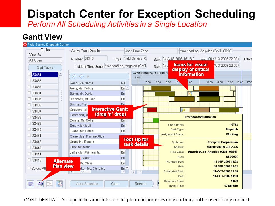 Dispatch Center for Exception Scheduling Perform All Scheduling Activities in a Single Location CONFIDENTIAL: All capabilities and dates are for plann