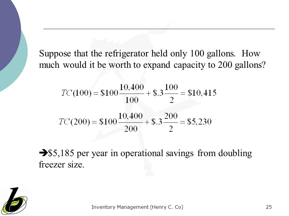 Inventory Management (Henry C. Co)25 Suppose that the refrigerator held only 100 gallons. How much would it be worth to expand capacity to 200 gallons
