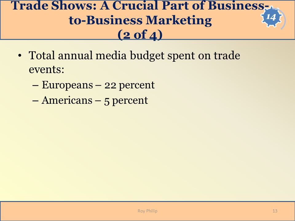 Trade Shows: A Crucial Part of Business- to-Business Marketing (2 of 4) Total annual media budget spent on trade events: – Europeans – 22 percent – Am