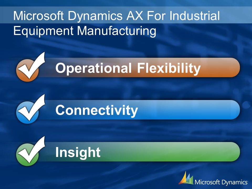 Microsoft Dynamics AX For Industrial Equipment Manufacturing Operational Flexibility Connectivity Insight